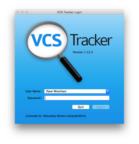 How do I log on to VCS Tracker? — VCS Tracker Documentation 1 0